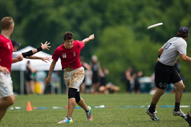 Chicago Machine's Chris Vandervoort hucks a backhand at the 2014 Chesapeake Invite.