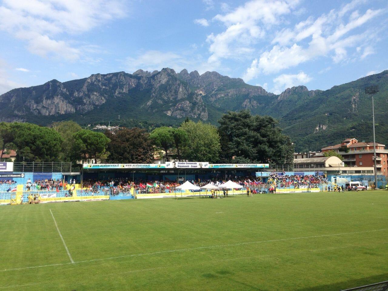 The beautiful stadium setting in Lecco.