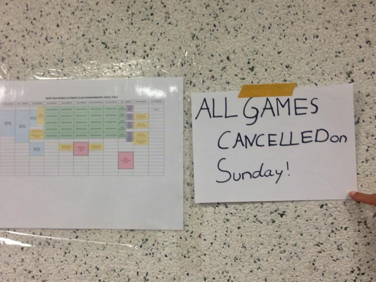 Games were canceled on Sunday around 9 PM Saturday night.