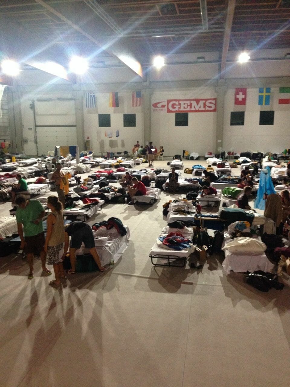 The volunteer sleeping accommodations in the gym.