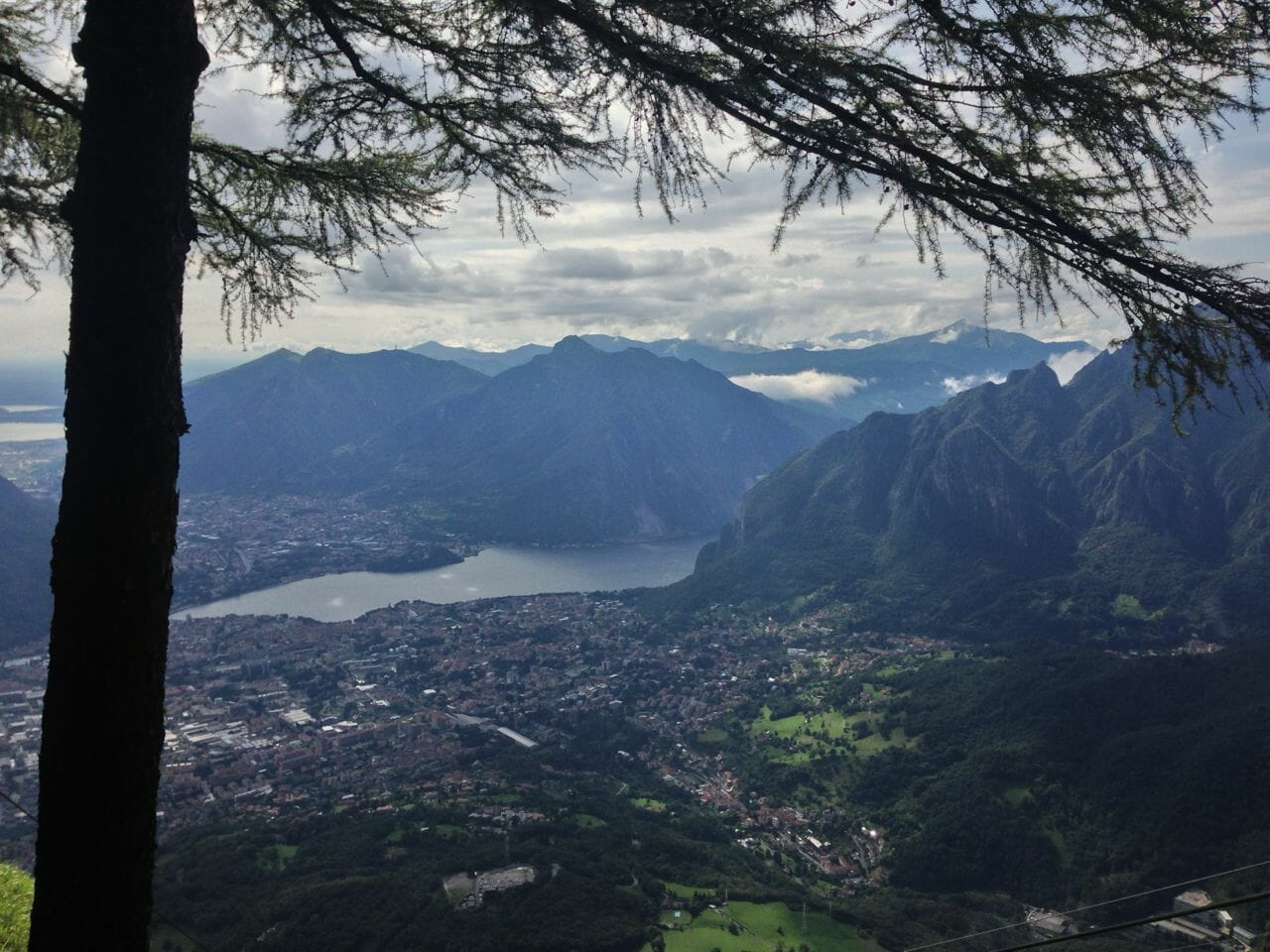 The view of Lecco from Mount Resegone on the Piani D'Erna plateau.