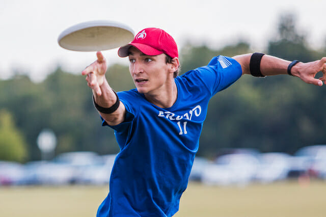 Nick Lance throws a backhand in the 2014 South Central Regional final.