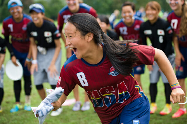 Angela Zhu celebrates in Lecco, Italy, at the U19 World Junior Ultimate  Championships.