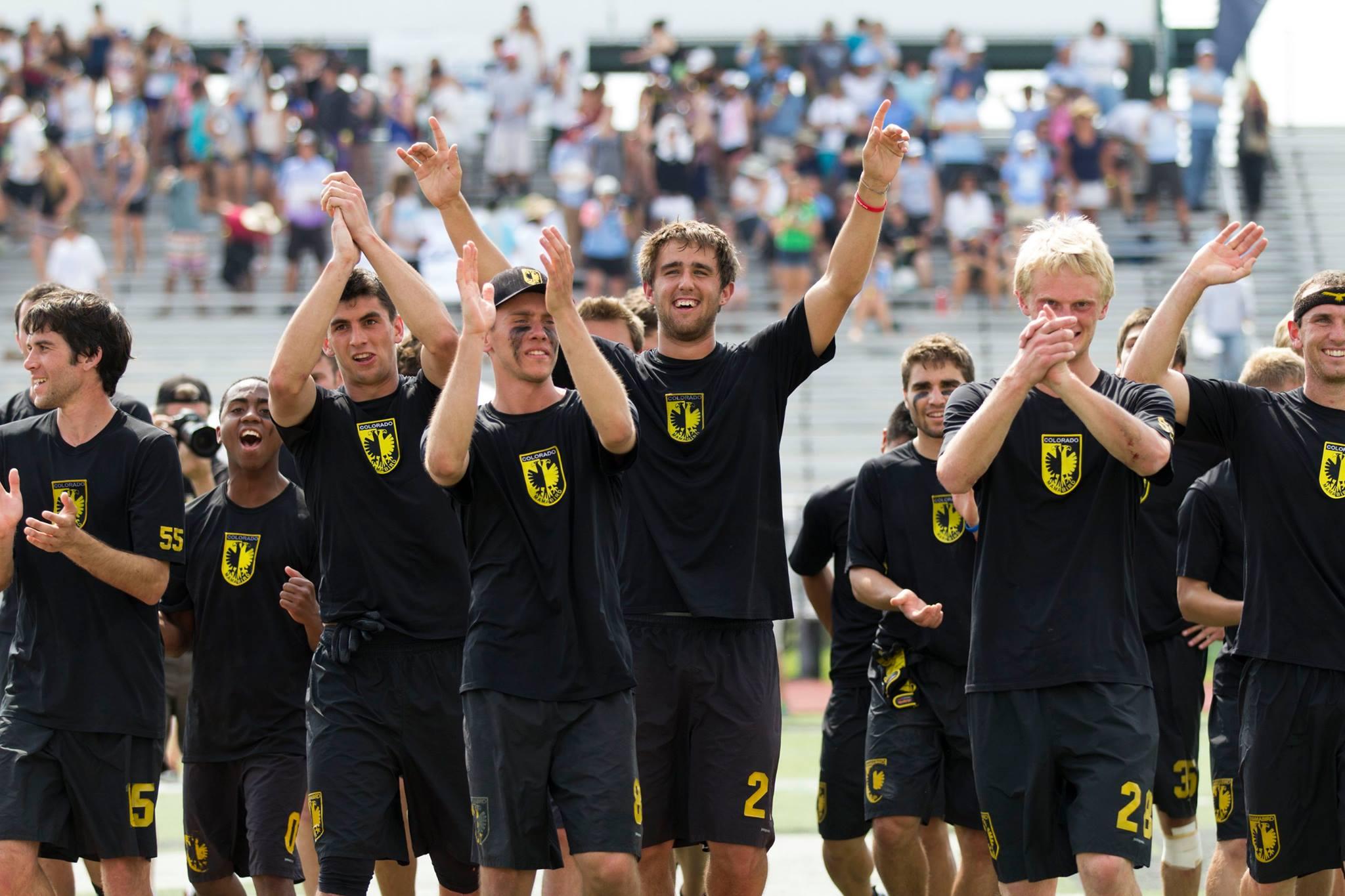 Colorado Mamabird celebrates winning their 2014 College Championship
