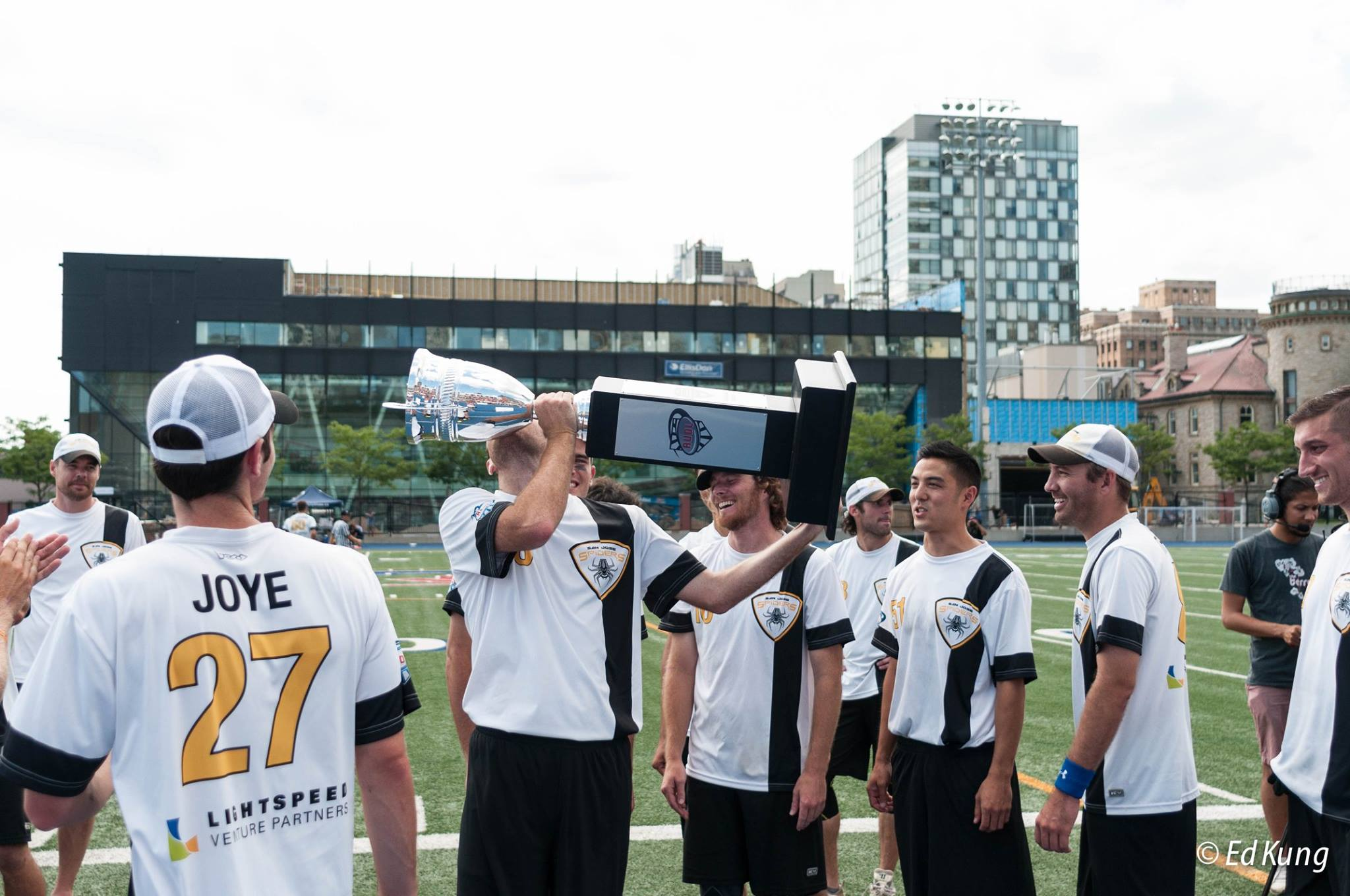 The San Jose Spiders hoist the AUDL Championship trophy in Toronto. Photo: Ed Kung