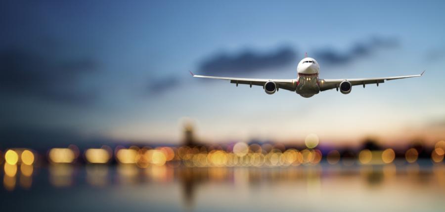 Airplane landing.