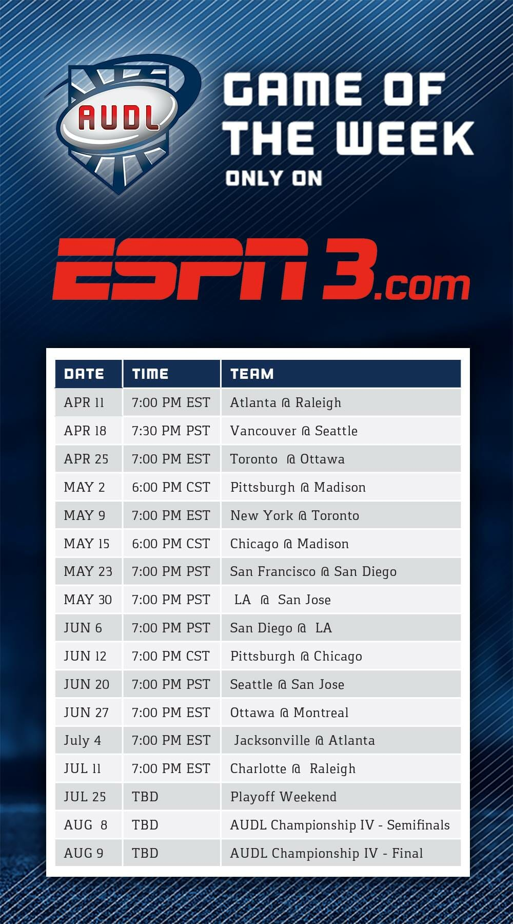 AUDL ESPN3 Game Of The Week