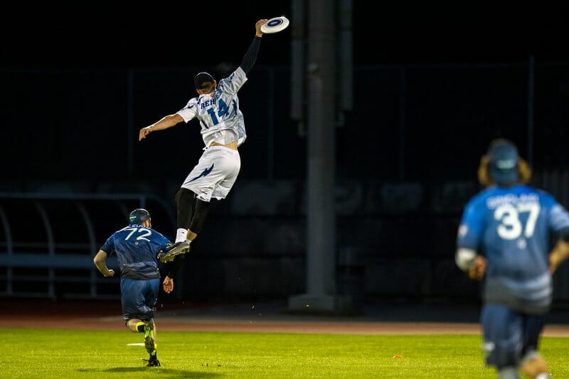 Seattle Cascades' Matt Rehder skying for the disc.
