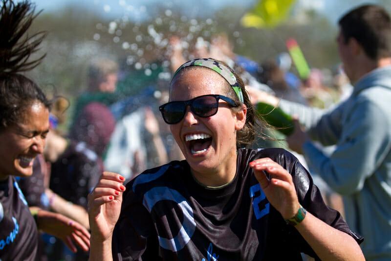 Heather Fredrickson celebrates the Great Lakes Regionals win