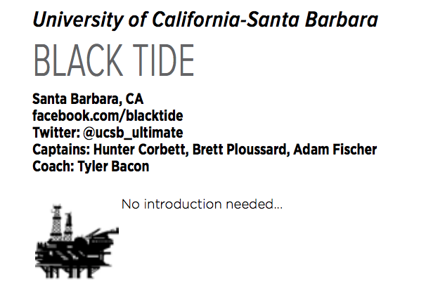 UCSB's bio in the Nationals event guide.