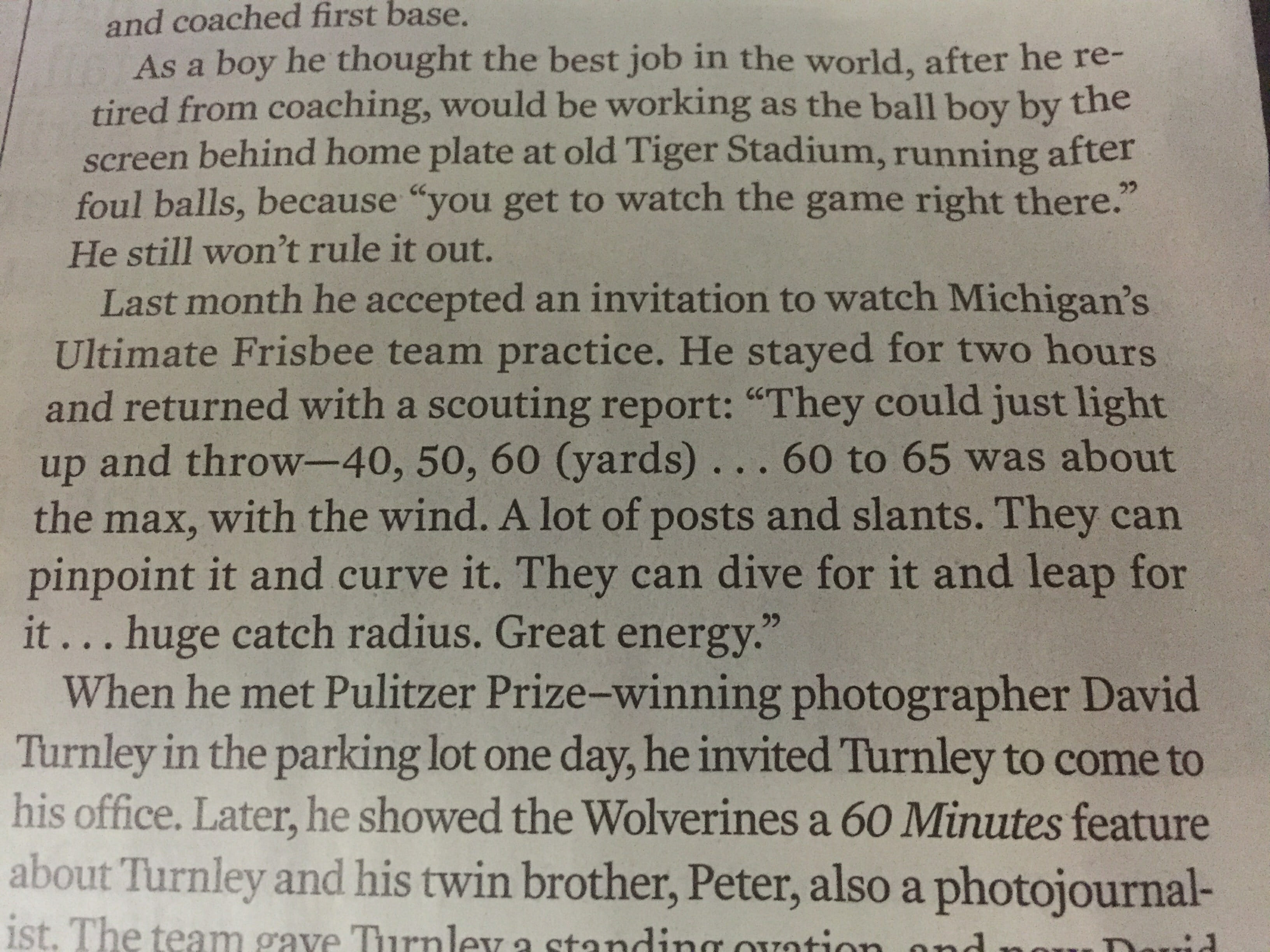 Jim Harbaugh Scouting Report on Ultimate Frisbee