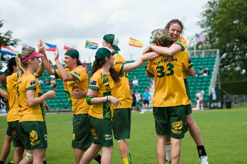 Australia celebrates at the 2015 U23 Worlds.
