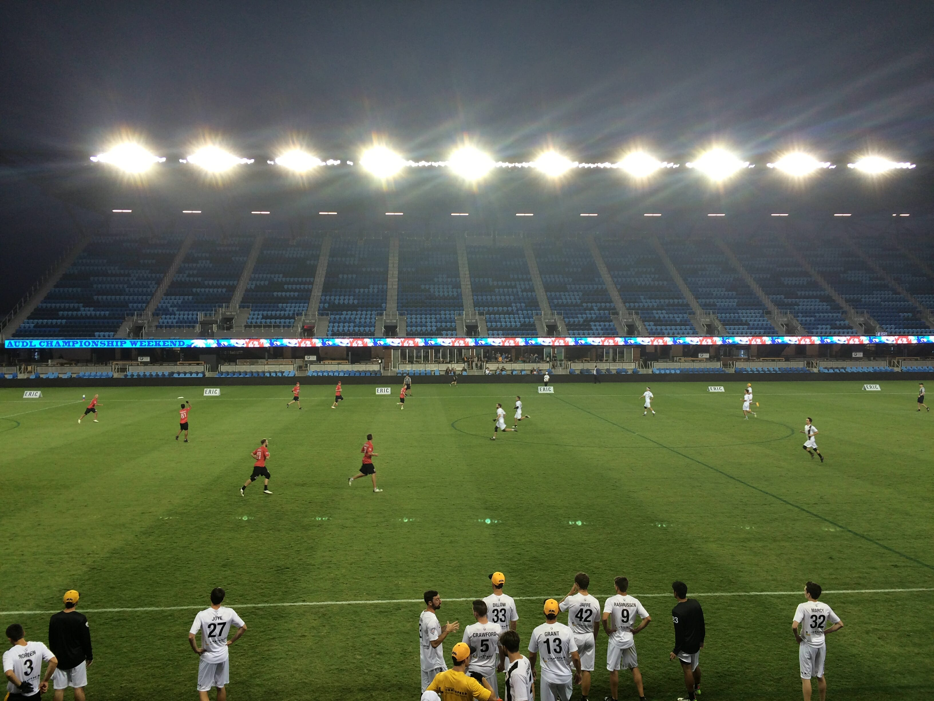 Watching the teams play under the lights in a stadium of Avaya's size was awesome.