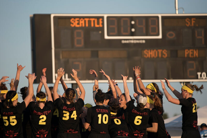 Riot celebrates at half time of their 2015 national semifinal against Fury.
