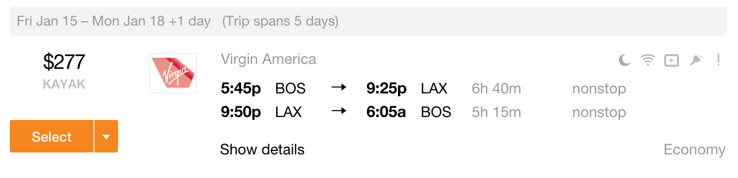 BOS-LAX Lei Out Fares