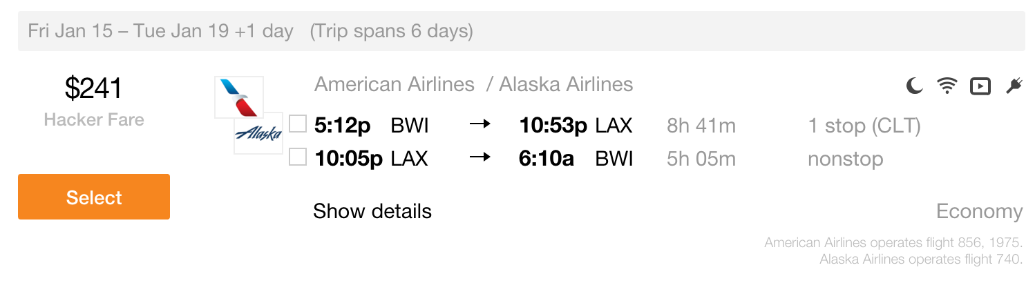 BWI-LAX Lei Out Fares