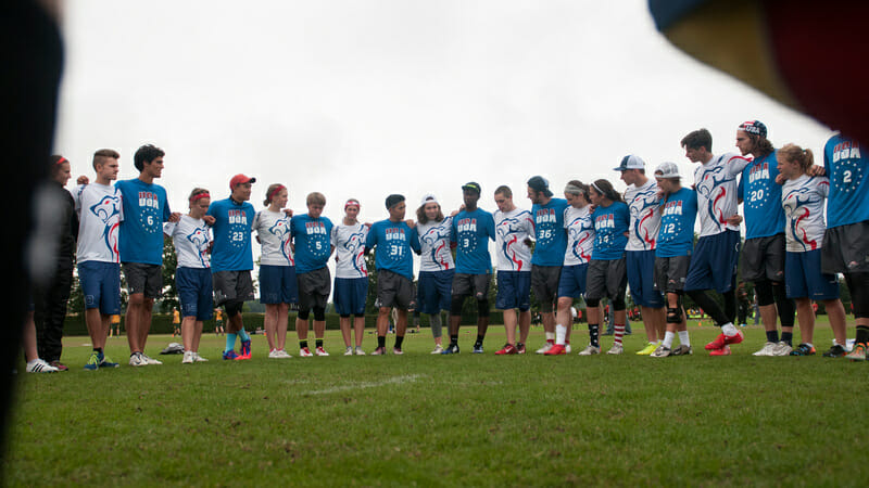 USA and Great Britain in the Spirit Circle at the 2015 U23 Championships. Photo: Jolie Lang -- UltiPhotos.com