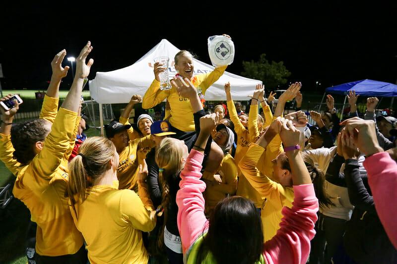 Fury celebrates teammate Alex Snyder winning the 2015 Kathy Pufahl Spirit Award. Photo: Alex Fraser -- UltiPhotos.com