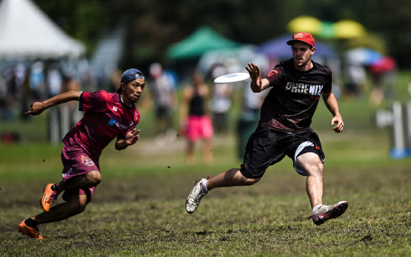 Ottawa Phoenix stunned Japan's Buzz Bullets at the 2014 World Club Championships with a huck-heavy strategy. Photo: Brian Canniff -- UltiPhotos.com