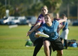 Michigan's Gina Sancricca goes for a backhand at Florida Winter Classic 2016. Photo: Billy Dzwonkowski -- UltiPhotos.com