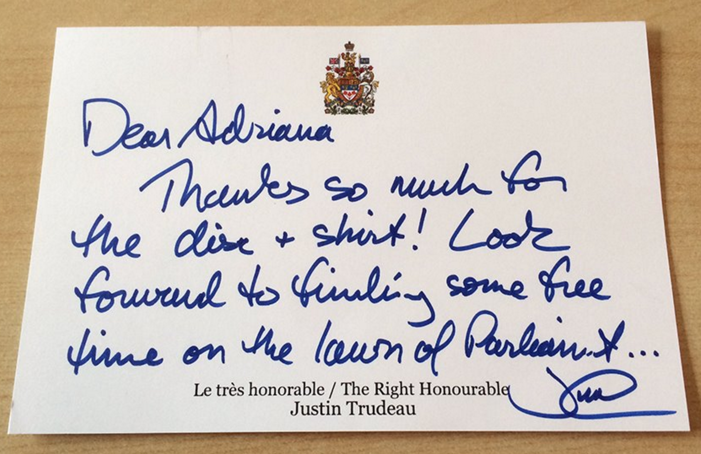 Justin Trudeau Thank You Note