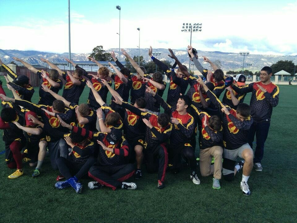 Stanford dabs after winning the 2016 Santa Barbara Invite. Photo: Stanford Bloodthirsty.