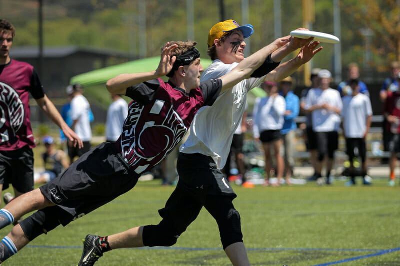 Amherst Regional High School takes on Carolina Friends School in the Finals of Paideia Cup 2016. Photo: Christina Schmidt -- UltiPhotos.com