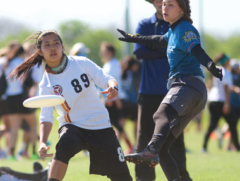 Texas Melee's Shiru Liu at Centex 2016. Photo: Conrad Stoll --  UltiPhotos.com