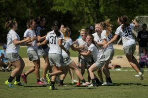 The HB Woodlawn girls celebrate their Southerns title. Photo: Christina Schmidt -- UltiPhotos.com