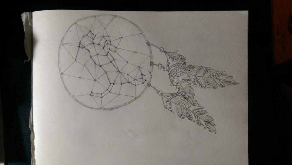 A sketch of the LSU dream catcher logo.