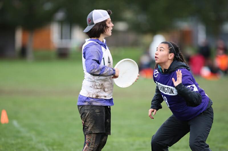 Stanford's Monisha White surveys the field against Washington.