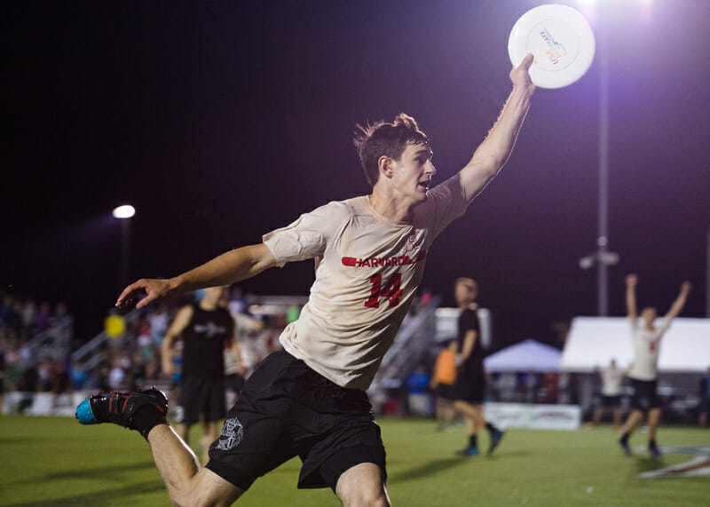 John Stubbs caught the winning goal after a historic performance against North Carolina. Photos: Kevin Lecaire -- Ultiphotos.com