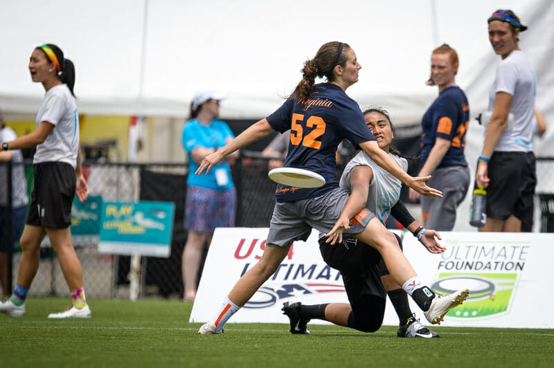 Whitman throws a dump pass at the 2016 College Championships. Photo: Paul Andris -- UltiPhotos.com