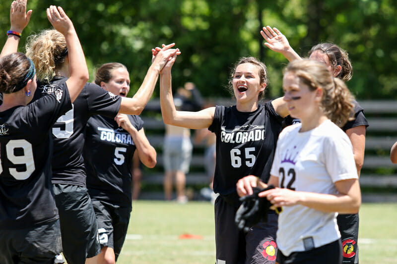 Colorado celebrates during their final pool play game, whch clinched their advancement to prequarterfinals.