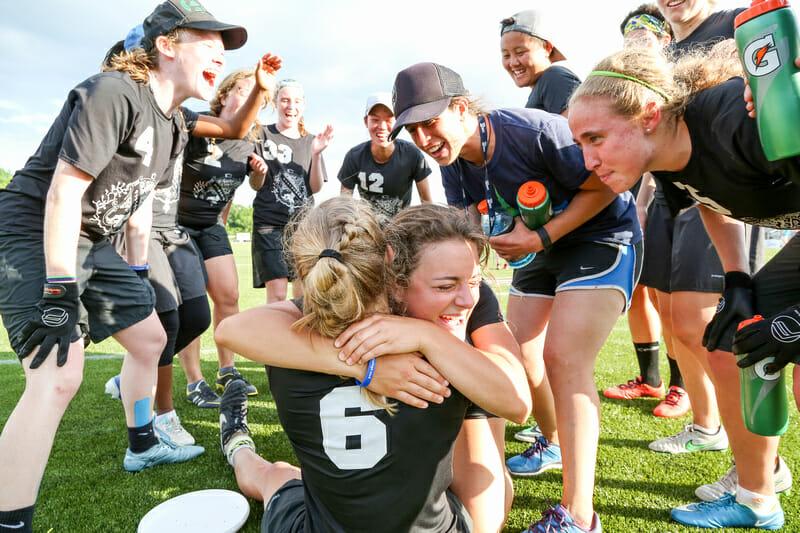 Dartmouth celebrates winning their prequarterfinal.