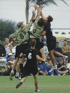 Mike skies two Condors players in the 2001 Club Nationals final