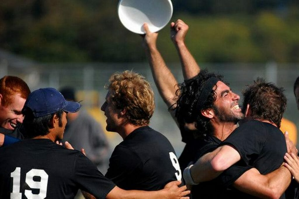 Revolver players celebrate immediately after locking in a Nationals bid in 2006, their first year as a program