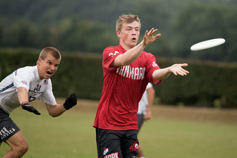 Anders Ruge of the Denmark National Tea competing at last summer's U23 World Championships. Photo: Jolie J Lang -- UltiPhotos.com