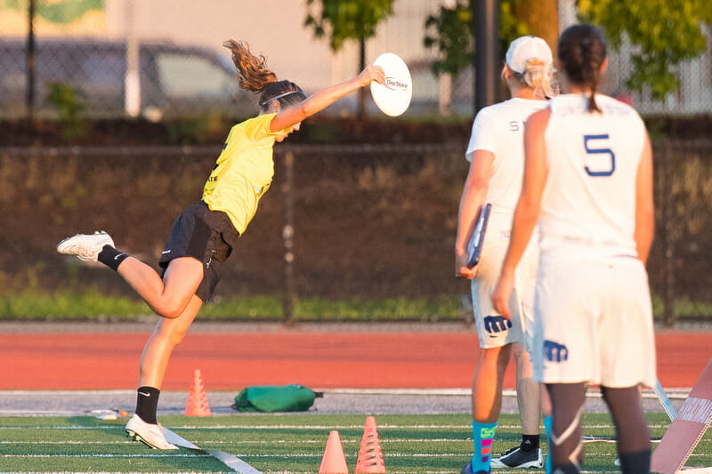 All-Star Kate Scarth toes the line for a goal in Tuesday's game against Fury. Photo: Rodney Chen -- UltiPhotos.com