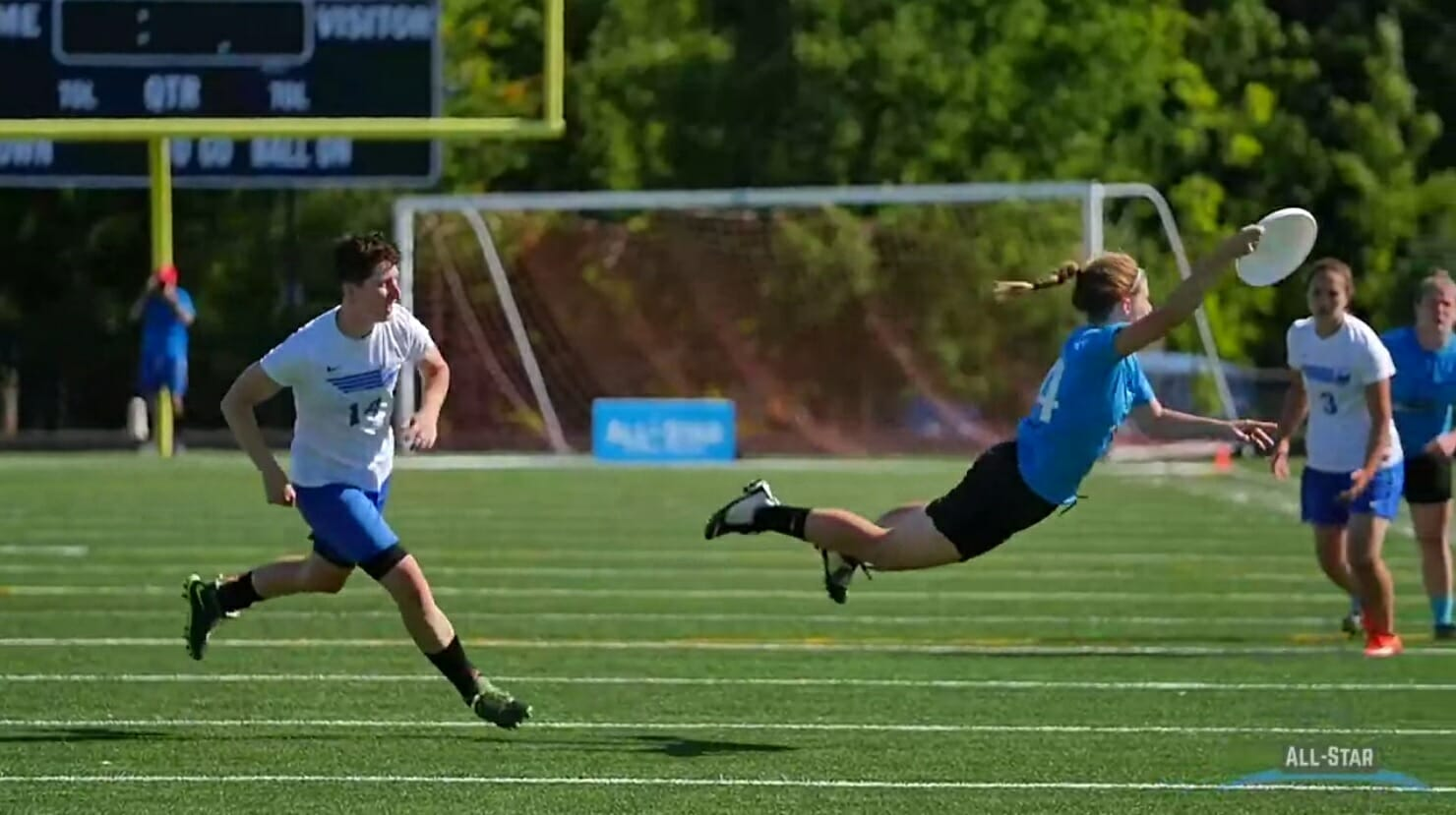 All-Star Bethany Kaylor lays out in Sunday's game against Portland Schwa. The play would make Sportscenter's Top 10.