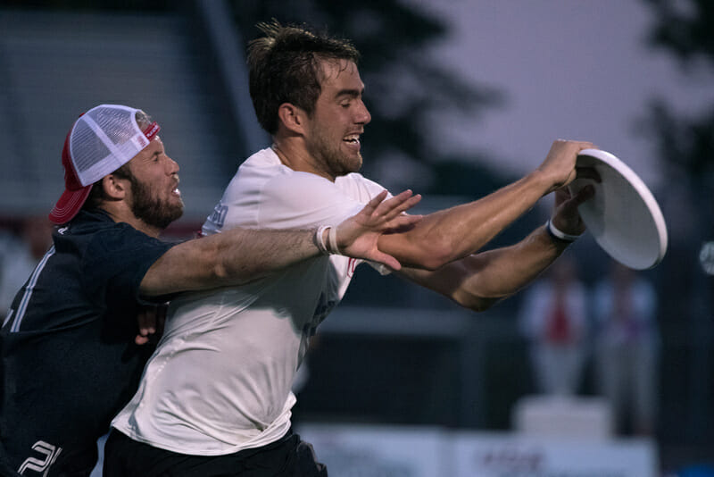 Geoff Powell of the Toronto Rush, seen here applying pressure to Jimmy Mickle at the 2015 US Open while competing with Toronto GOAT. Photo: Jolie J Lang -- UltiPhotos.com