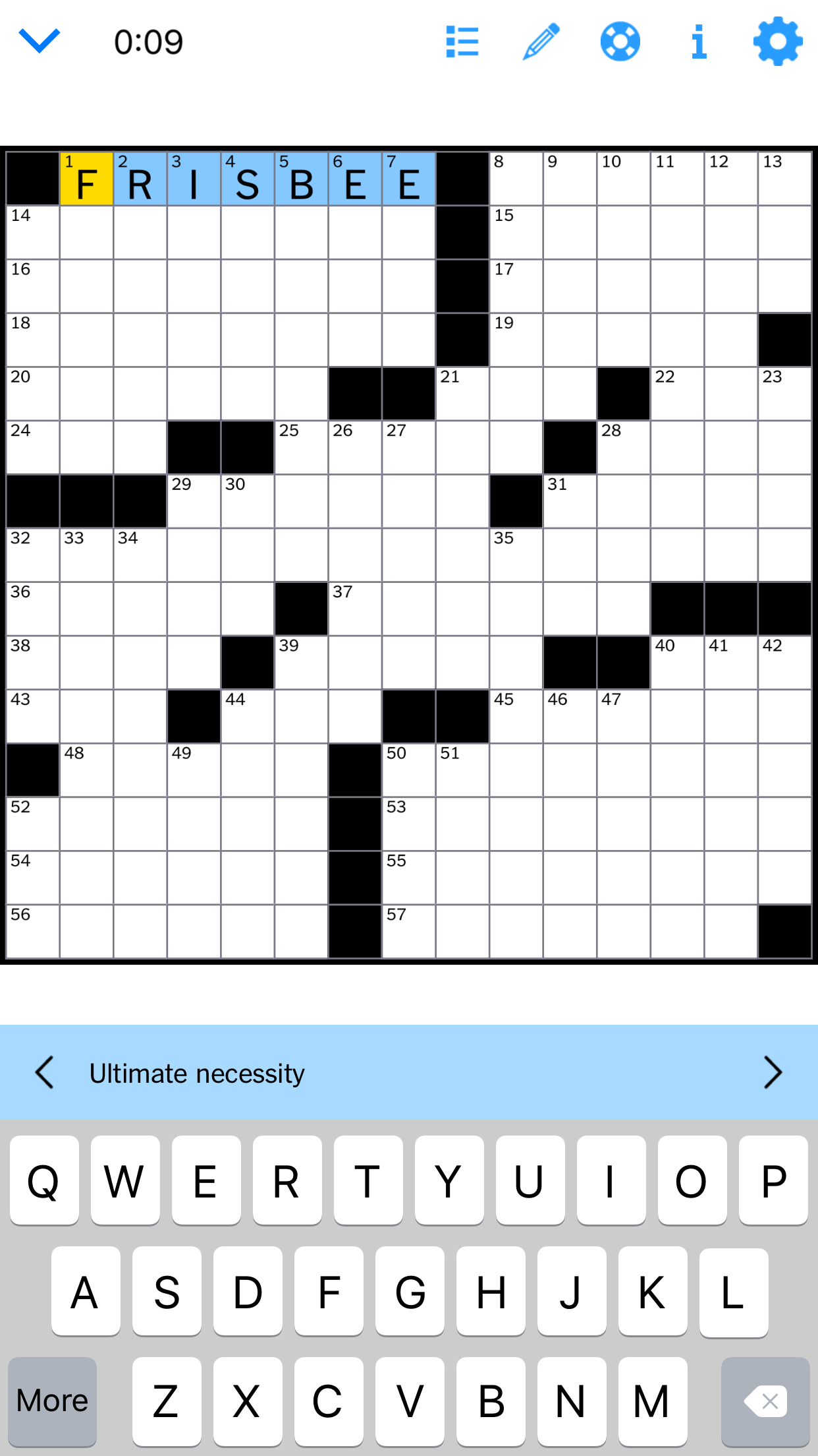 NYT crossword with ultimate frisbee.