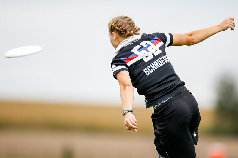 Erynn Schroeder (Phoenix #52) pulls during Pool Play at the USA Ultimate Club National Championships. Photo: Paul Rutherford -- UltiPhotos.com