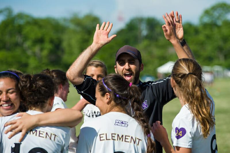 Kyle Weisbrod coaching Washington Element. Photo: Kevin Leclaire -- UltiPhotos.com