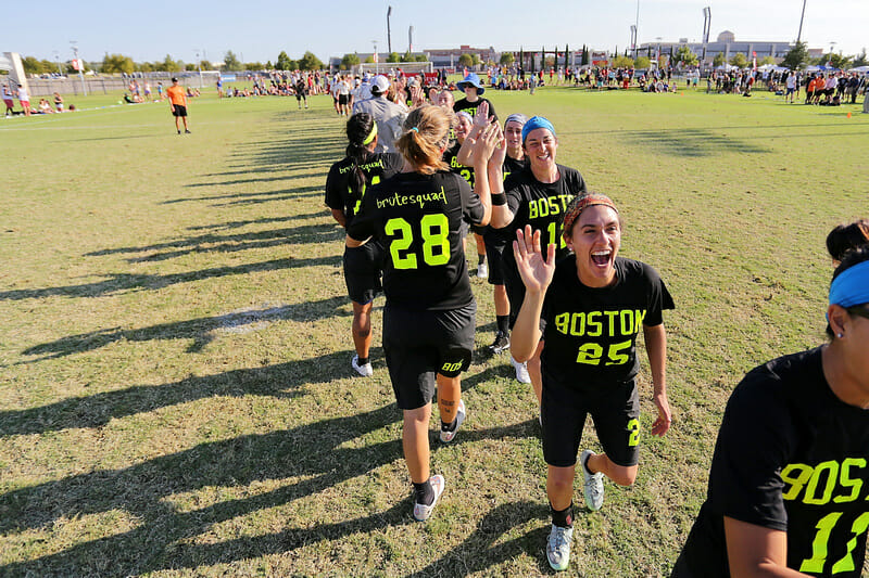 Boston Brute Squad celebrates their victory over Molly Brown in the 2015 national semifinal.