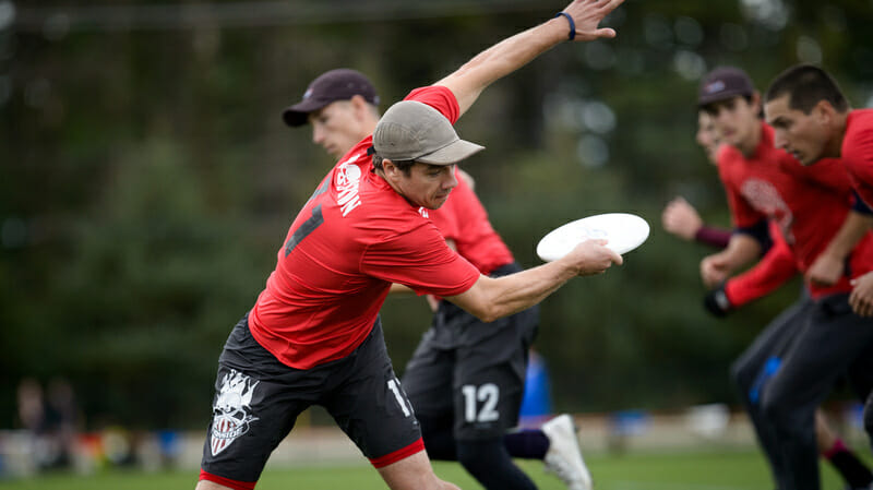 Boston Ironside pulls the disc during quarterfinals at the USA Ultimate Club National Championships. Photo: Paul Andris -- UltiPhotos.com.
