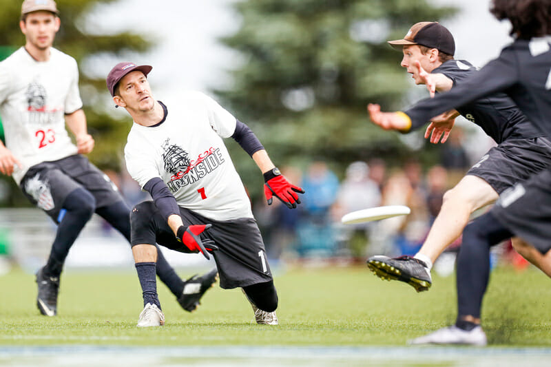 Ironside's Josh Markette in the 2016 Club Championship final. Photo: Paul Rutherford -- UltiPhotos.com