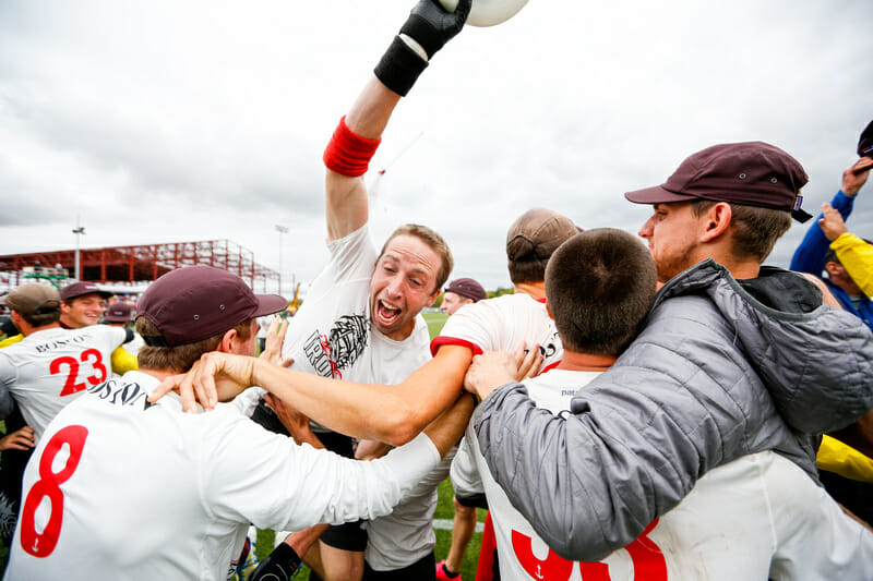Ironside's Jeff Graham celebrates catching the tournament-winning score at the 2016 National Championships. Photo: Paul Rutherford -- UltiPhotos.com
