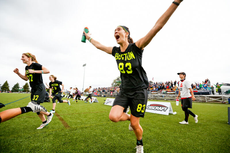 Brute Squad's Aly Heath storms the field after Brute secured their second straight National Championship. Photo: Paul Rutherford -- UltiPhotos.com