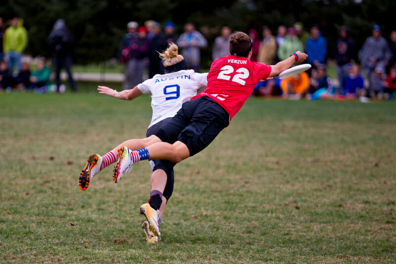 Riot's Jaclyn Verzuh lays out against Fury's Marika Austin during their 2016 Club Championship semifinal.
